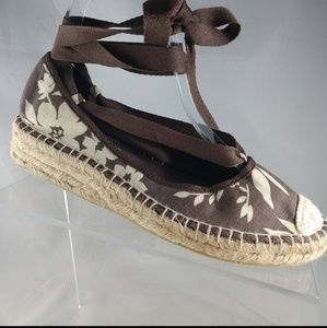 NEW Report Brown floral Lace Up Espadrilles size 7